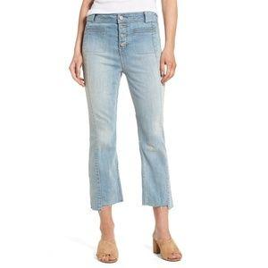 CHELSEA28 high waist rise crop flare denim jeans